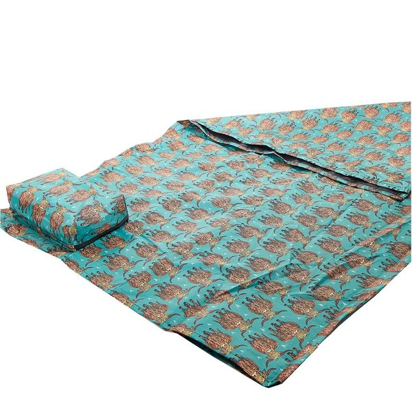Teal Highland Cow Picnic Blanket